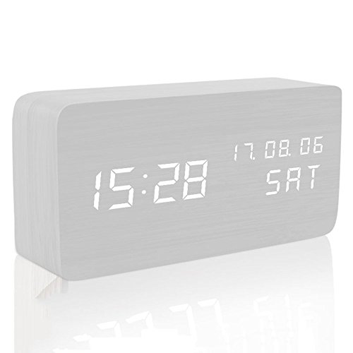 MUTANG Reloj de Madera Led Light Mini Cube Digitales Relojes despertadores analógicos Minimalistas con Fecha y Temperatura Madera Blanca, Registros, Madera Negra (Color : White Wood)