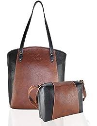 Fargo Motley PU Leather Women's & Girl's Shoulder Tote Handbag & Cross Body Side Sling Bag Combo (Brown,Black_FGO...