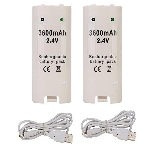 OSAN 2x Capacidad 3600mAh Recargable Baterias para Wii Mando Controlador a Distancia[Importación Inglesa]