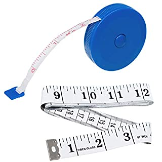 1 x Retractable & 1 x Soft Tape Measure, Both are 1.5m Long, Fabric Tape Measures, Ideal for Tailors, Dressmakers & Household Use