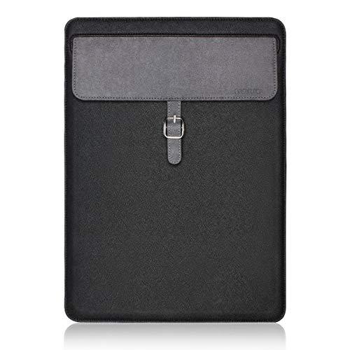 Mo Schwarz Leder (Mosiso Laptophülle für MacBook Pro Retina/MacBook Air/Surface Laptop/Surface Book, leicht, ultradünn, PU-Leder, wasserdicht, mit Magnetverschluss, Schwarz)