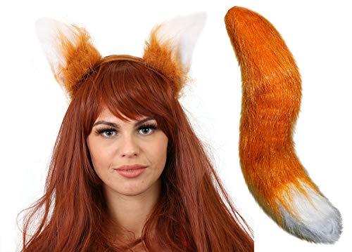 ERWACHSENE FOX HECK UND FOX OHREN AUF EINEM STIRNBAND MASKENKOSTÜM ZUBEHÖR JEDE VERKLEIDUNG KOSTÜMPARTY/PLAY,STAGESHOW KOSTÜM UND SCHULE BUCH WOCHE/WELTTAG DES BUCHES RIESIGE FUCHSSCHWANZ LÄNGE 50CM