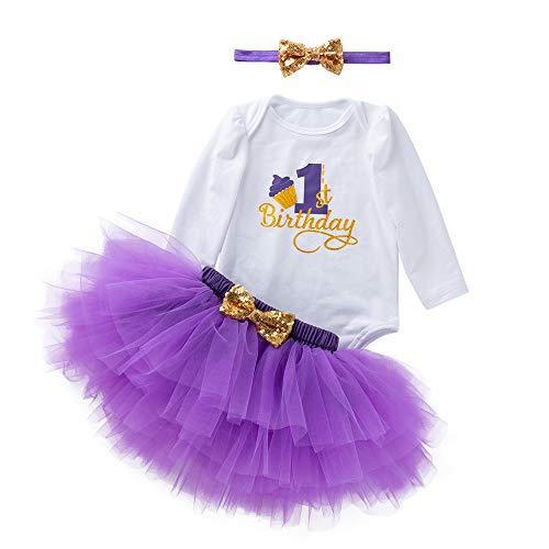 YEARNLY Mädchen Newborn 1. Geburtstag 3 Stück Outfits Strampler + Tutu Kleid + ()