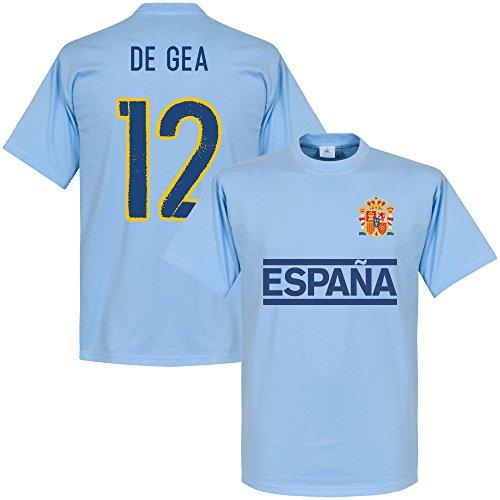 Spagna de gea maglietta a maniche corte della squadra, colore: azzurro cielo, unisex adulto, azzurro
