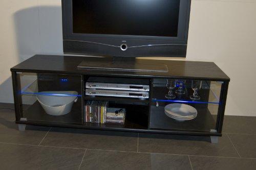 TV-BANK / Fernseh-Schrank / Sideboard in Escheoptik schwarz inkl. LED-Beleuchtung blau – B 140 cm - 5