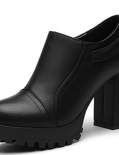 WSS 2016 Chaussures synthétique de bureau talons printemps / automne / hiver talons des femmes&carrière / casual gros talon fendu joint noir / black-us7.5 / eu38 / uk5.5 / cn38