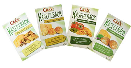 Craex kaesegebaeck varitation (formaggio alle erbe (60g), formaggio con cereali (70g), olive e pomodori (75g), gauda e edam (75g))