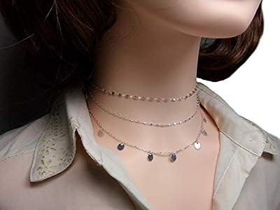 Lot de 3 colliers - Argent - collier chaine fantaisie - chaine perlée - collier pampilles - ensemble colliers femme - idée cadeau