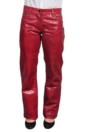 Lederhose Damen lang - Lederjeans Herren- Echt Leder, Lederhose Jeans 501 Rot- Motorrad Lederjeans- Fuente Moderne Lederhose in Rind Nappa antik (30, Weinrot) -