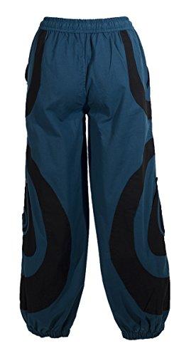 Coline - Pantalon large aladin poches spirales Petrole