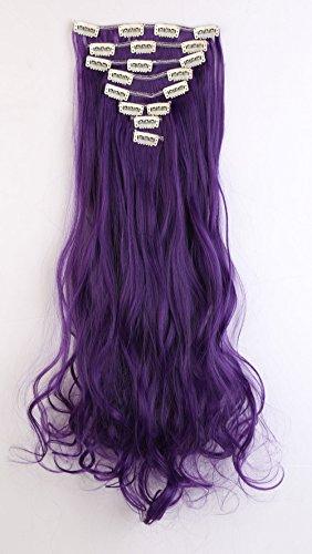 """S-noilite® 24"""" Full-Kopf-Klipp in den Haar-Verlangerungen Ombre Gewellt Gelockt Haarverlängerungen Dip Dye 8Pcs Lang Haare Schwarz lila"""