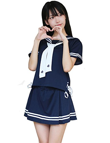 Olanstar Damen Anime Schuluniform Japanisch Sailor Röcke Halloween Cosplay Kostüm