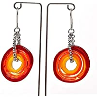 Genuine Murano glass earrings in red and yellow shades - directly from the artist | Stainless steel chain and hanger | Unique glass jewellery personalised | Elegant and handcrafted | Charming Birthday Gift | Wonderful Mother's Day gift for your wife, mother, mom or om