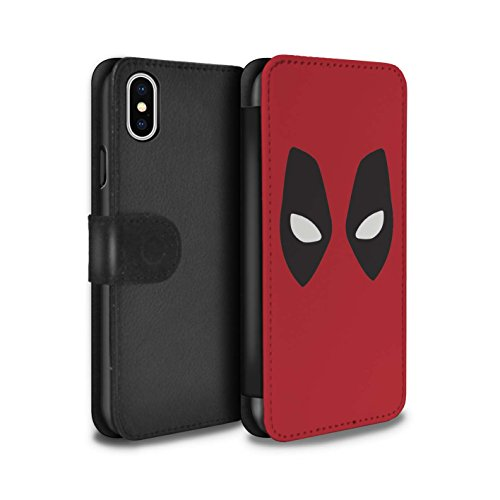 Stuff4® PU-Leder Hülle/Case/Tasche/Cover für Apple iPhone X/10 / Deadpool Maske Inspiriert Muster/Superheld Comic-Kunst Kollektion