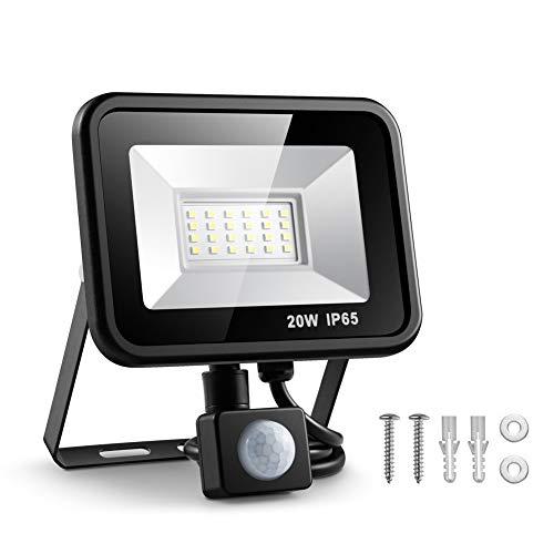 ESLAS Faretto con Sensore di Movimento 20W Faro LED Esterno IP65 Impermeabile LED Esterno 6500K 1600LM, Lampada a Rsparmio Energetico a LED per Cortile [Classe di efficienza energetica AA+]