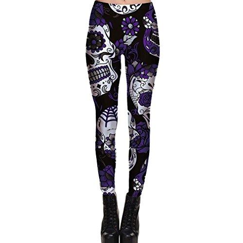 Juleya Frauen Leggings Halloween Skelett 3D Muster Gedruckt Strecken Geist Gotisch Schädel Skelett Stretch Skinny Hosen Knochen Schädel Dünn Footless Leggings S M L XL 2XL 3XL ()