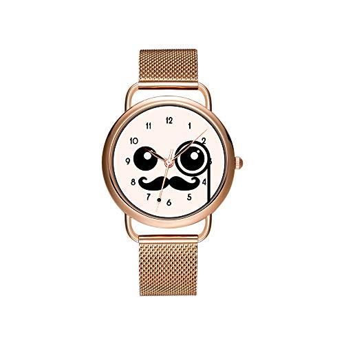 Frauen Uhren Marke Damen Mesh Gürtel Ultradünne Uhr wasserdichte Uhr Quarzuhr Weihnachten Nette Kawaii Glückliches Gesicht mit Monokel und Schnurrbart Armbanduhr