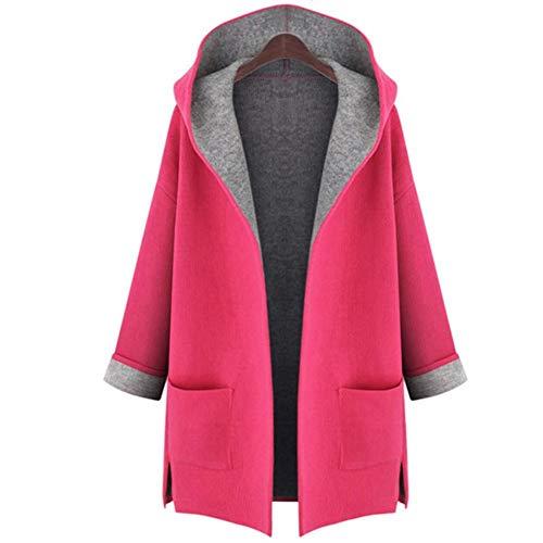 IOSDH8 Frauen HoodMantel HerbstMischungen Outwear Weiblich Plus Size -Mäntel für Damen Herbst Winter, rote Rose, 3XL (Wolle Mäntel Plus Mischung Size)