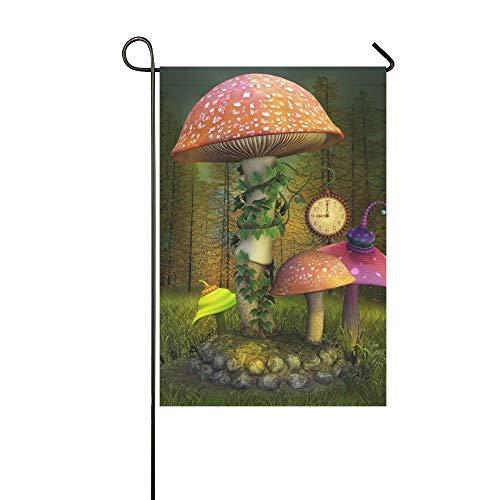 QuqUshop Home Dekorative Outdoor Doppelseitige Elfen Verzauberte Pilze Platz 3 D Garten Flagge Haus Hof Flagge Garten Hof Dekorationen saisonale Willkommen Outdoor Flagge Frühling Sommer Geschenk -