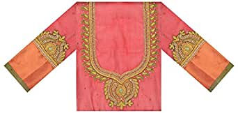 Shivani Selections Women's Pattu Blouse Piece (SS004, Red)