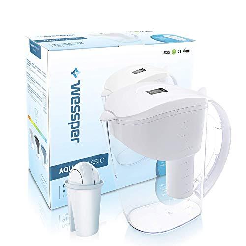 Wessper caraffa filtrante per acqua, capacità 3.5 l, bianco, 1 filtro incluso (compatibile con brita classic)