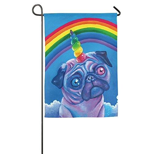 Rainbow Carlin Unicorn Garden Drapeau drapeaux de décoration intérieure et extérieure pour Parade Sports Jeu Family Party Banderole murale, 12*18inch blanc