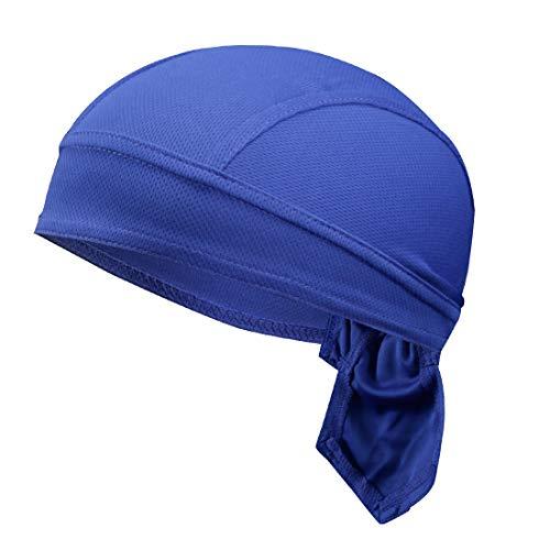 GWELL Unisex Bandana Cap Atmungsaktiv Piraten Kopftuch Bikertuch UV Schutz Fahrrad Erwachsene Radsport Einfarbig Blau