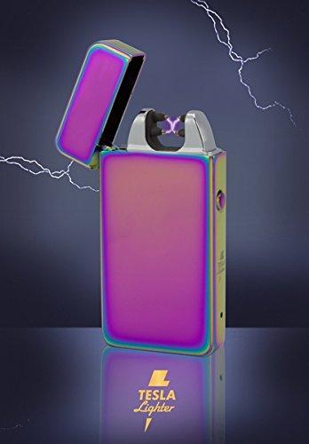 Tesla-Lighter T11 | Lichtbogen Feuerzeug, Plasma Double-Arc, elektronisch wiederaufladbar, aufladbar mit Strom per USB, ohne Gas und Benzin, mit Ladekabel, in edler Geschenkverpackung, Regenbogen