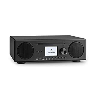 auna Connect CD • Internet Radio • Digital Radio • WLAN Radio • DAB/DAB + / FM Tuner w/RDS • Bluetooth • Spotify Connect • AUX • 10 Station Storage Locations • MP3 CD Player • USB Port • Black