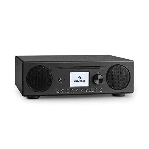 auna Connect CD Kompaktanlage • Internetradio • Digitalradio • WLAN • DAB+ / UKW-Tuner mit RDS • Bluetooth • Spotify Connect • AUX • 10 Senderspeicherplätze • CD Player • USB • Farbdisplay • schwarz
