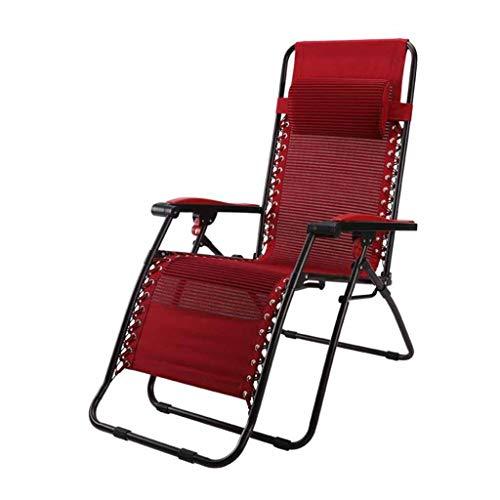 Chaises inclinables Chaise Pliante Chaises Longues Chaise Longue Sun Garden Zero Gravity Textilene Rouge avec Repose-tête (Couleur : #1)