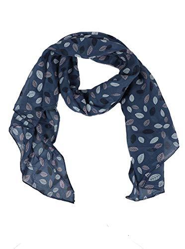 Zwillingsherz Seiden-Tuch Damen mit Blätter Muster - Made in Italy - Eleganter Sommer-Schal für Frauen - Hochwertiges Seidentuch/Seidenschal - Halstuch und Chiffon-Stola Dezent Stilvoll navy -