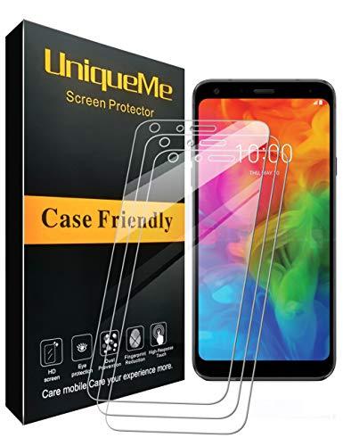 UniqueMe für [3 Stück LG Q7 / LG Q7 Plus Schutzfolie, LG Q7 / LG Q7 Plus Panzerglas Bildschirmschutzfolie mit [9H Härte] [Anti-Öl] Hartglas Lebenslange Ersatzgarantie