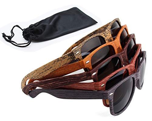 Sonnenbrille Holz Holzoptik mit Brillen Etui - UV400 - verschiede Farben und Muster für Damen und Herren verspiegelt sunglass UV-Schutz Holz Optik grau