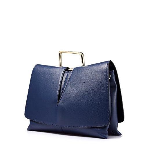 LOVEVOOK doppia cerniera borse della borsa a tracolla delle donne Blu