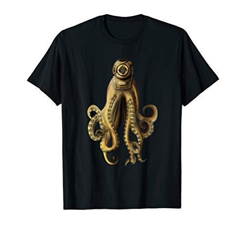 Kraken Retro Taucher Helm Octopus Bild Geschenk Tintenfisch T-Shirt