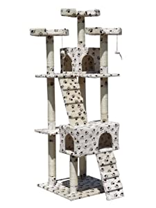 FoxHunter Deluxe Multi Level Cat Scratcher Cat Tree Activity Centre Scratching Post Climbing Sisal Toys 608 Beige With Paw Faux Fur 55cm x 55cm x 180cm Height