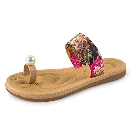 Hunpta Frauen Mode Sommer Wohnung Flip Flops Sandalen Slipper Böhmen Schuhe Rot