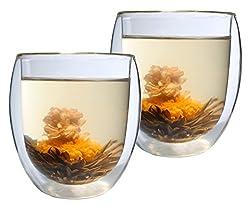 Aktion: 2er-Set 400ml Thermo-Glas mit 2 Teeblumen DOPPELWANDIG Ice-Bloom XXL extra großes Teeglas/Kaffeeglas mit Schwebeeffekt in Geschenkkartons
