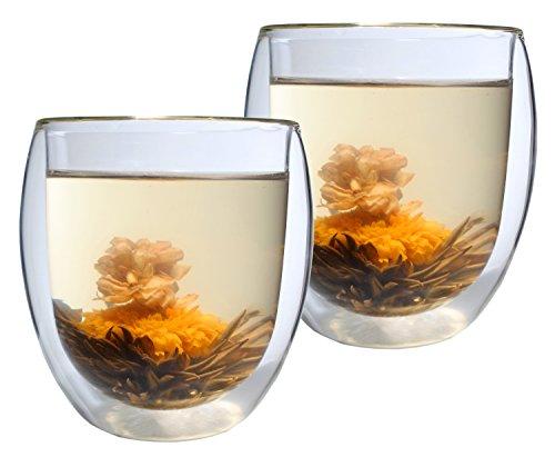 AKTION: 2er-Set 400ml Thermo-Glas mit 2 Teeblumen DOPPELWANDIG ICE-BLOOM XXL extra großes Teeglas/Kaffeeglas mit Schwebeeffekt in Geschenkkartons (Aktion Tee)