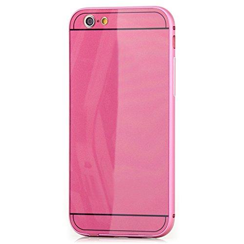 Saxonia iPhone 6 6S Coque aluminium Métal Housse Bumper rigide Case | Housse Etui Protection Verre Acrylique Verso Rose Rose