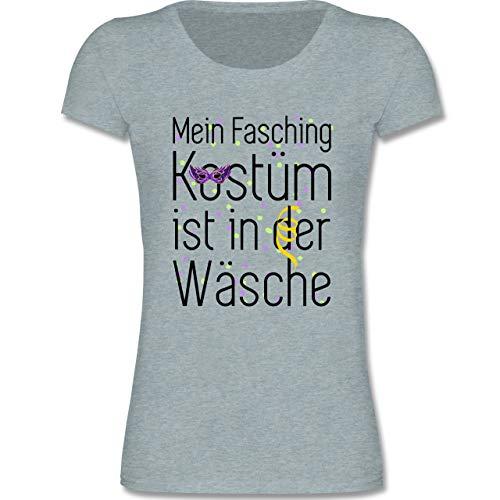 Karneval & Fasching Kinder - Mein Fasching Kostüm ist in der Wäsche - 122-128 (7-8 Jahre) - Blau/Grau meliert - F288K - Mädchen T-Shirt