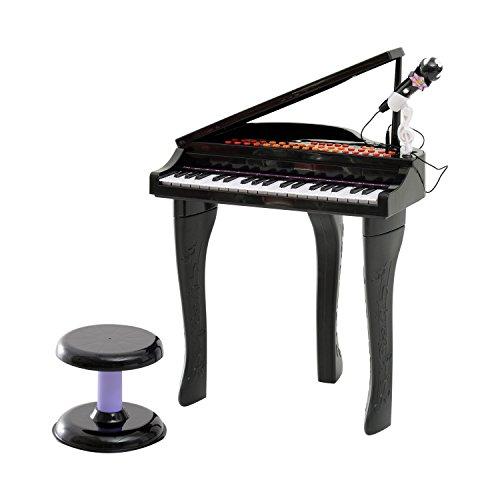 Homcom® Kinder Klavier Mini-Klavier Piano Keyboard Musikinstrument MP3 USB inkl. Hocker 37/32 Tasten (Modell1/ schwarz)