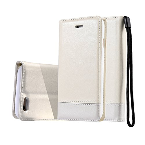 "For iPhone 7 4.7"" Case,Premium Leather [Folio Case] [Wallet Function] Dual-Sided Magnetic Hand Strap Purse Flip Book Style With Card Slots Cash Pocket Case Cover for iPhone 7 - Brown White"