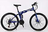 Hycy 26-Zoll-Mountainbike 21-Fach-Faltende Doppelscheibenbremsen Geschwindigkeit Doppelte Stoßdämpfung EIN Rad Mountainbike,Blue
