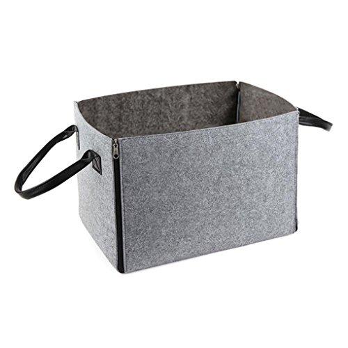 Preisvergleich Produktbild FakeFace Filz Faltbar Aufbewahrungsbox Kasten Faltbox Koffer Organizer mit Handgriffen Reißverschluss für Taschen Fernbedienung CDs Medizin Wäsche Unterwäsche Magazine Schmuck Kabel (Grau)