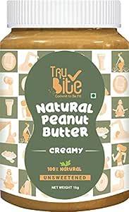 Trubite Natural Peanut Butter (Creamy) (1kg) | Unsweetened | 30g Protein | Non GMO | Gluten Free | Cholesterol Free