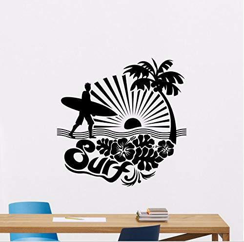 (Knncch Surfen Wandtattoo Removable Sports Sea Palms Surfer Vinyl Aufkleber Palme Surfer Mann Wand Kunst Wandbild Gym Decor Poster)