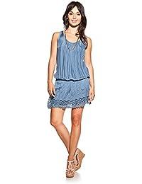 Laura Moretti - Vestido de seda con escote en U, bordados y puntilla