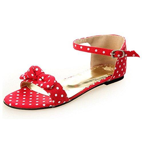 Nonbrand Damen Blockabsatz Ankle Straps Rot